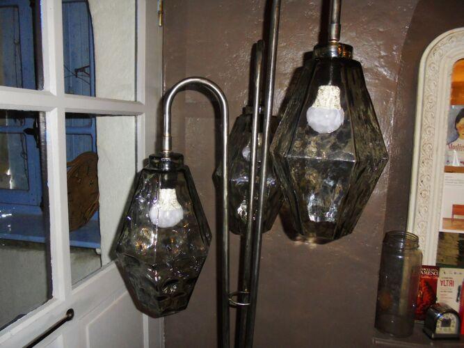 Lampadaire tripode acier et verre soufflé 1970