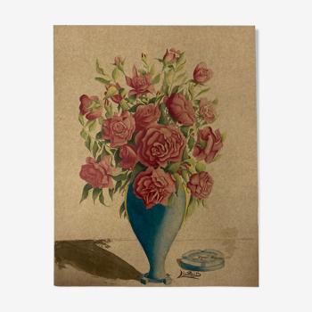 Aquarelle aux roses vintage