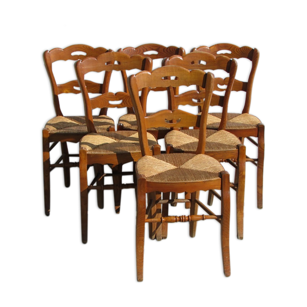 Lot de 6 chaises en orme, paillées