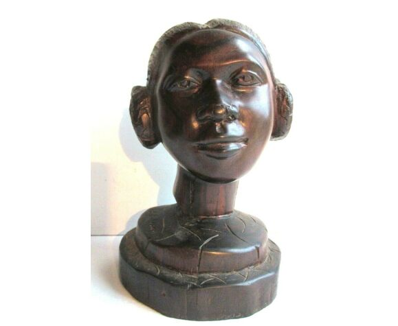 Sculpture bois massif exotique statue buste de femme africaine signée g. ralison