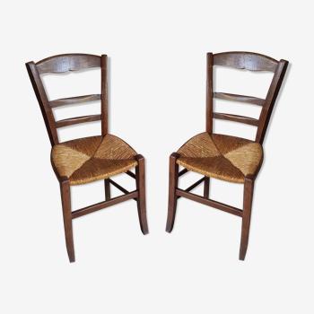 Paire de chaise paille bois 1900