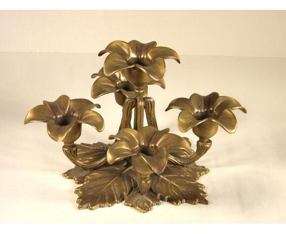 "Chandelier bougeoir "" fleurs "" en bronze doré"