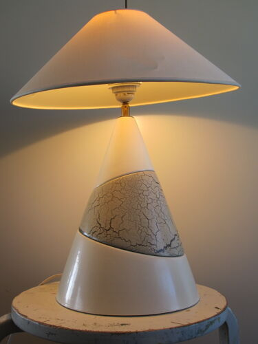 François chatain conical ceramic lamp with asymmetrical pattern brown and cream 1980
