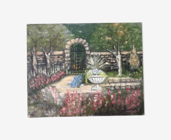 Huile sur toile  «jardin de fleurs»