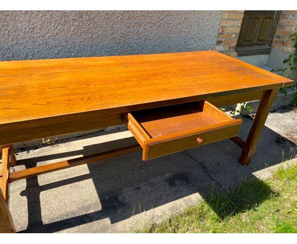 Table de ferme à repas à manger pour 8 personnes en chêne massif avec 1 tiroir 1950 200x85x79cm