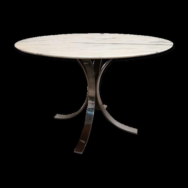 Table a manger marbre piétement inox