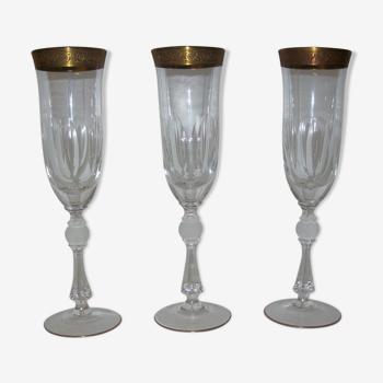 Set de trois verre anciens en cristal de Saint Louis