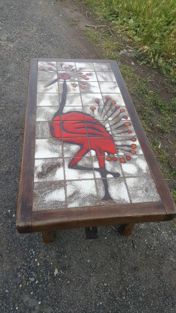 Table basse rectangulaire en céramique et acajou signée Dan, Vallauris vers 1950/60