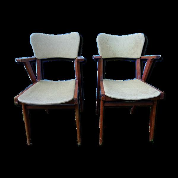 Paire de fauteuils années 50 sky