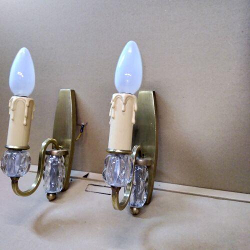 Paire d'appliques bronze et verre 1940
