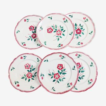 6 vintage flowery flat plates