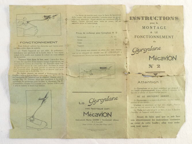 Jouet ancien mecavion gyroplane l'arc-en-ciel complet avec boite
