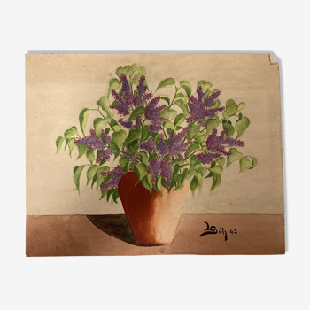 Aquarelle bouquet lilas vintage