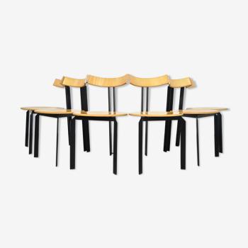 Six chaises à manger vintage post-modernes, modèle Zeta de Martin Haksteen pour Harvink, Pays-Bas, années 80