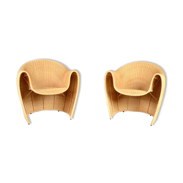 Fauteuils en rotin Driade 'King Tubby' par Miki Astori vintage design