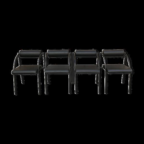 Série de quatre chaises Rodney Kinsman pour Bieffeplast, 1980