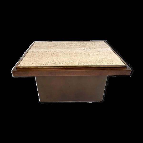 Selency Table basse belgo chrome en travertin, cuivre et laiton