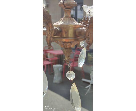 Lustre en bronze pampilles et coupelles en verre
