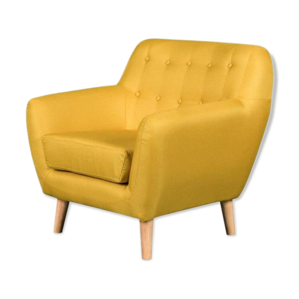 Fauteuil capitonné scandinave en tissu jaune Viky