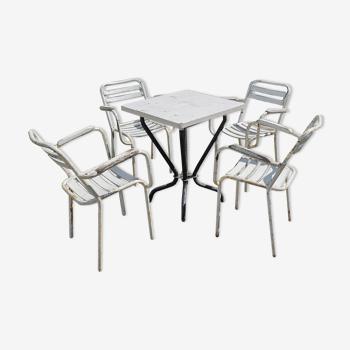 4 fauteuils et table Tolix modèl T2
