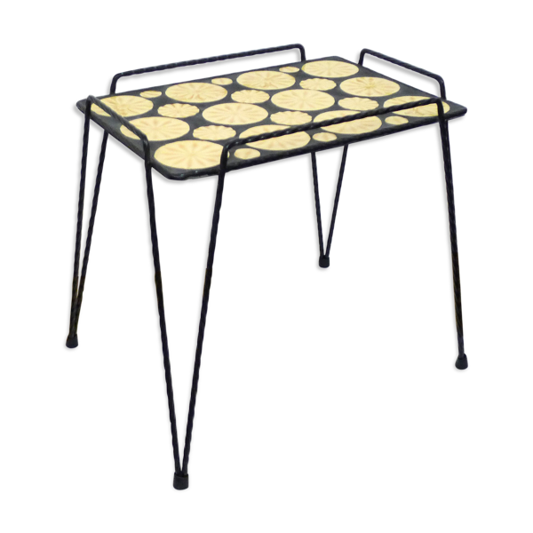 Table d'appoint mosaïque et fer forgé pieds compas
