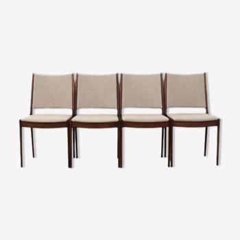 Lot de 4 chaises en teck, design danois, années 1970, Johannes Andersen édition Udulm