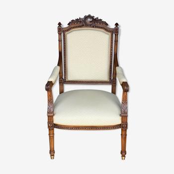 Fauteuil de style louis xvi napoleon iii en noyer tissu jaune pale