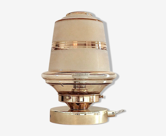 Lampe globe en verre granité