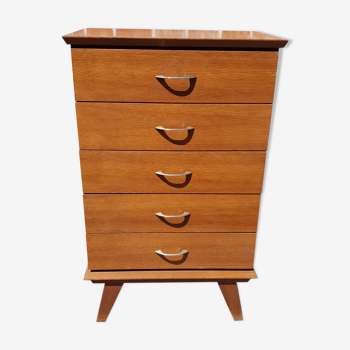 Commode 5 tiroirs pieds fuseaux