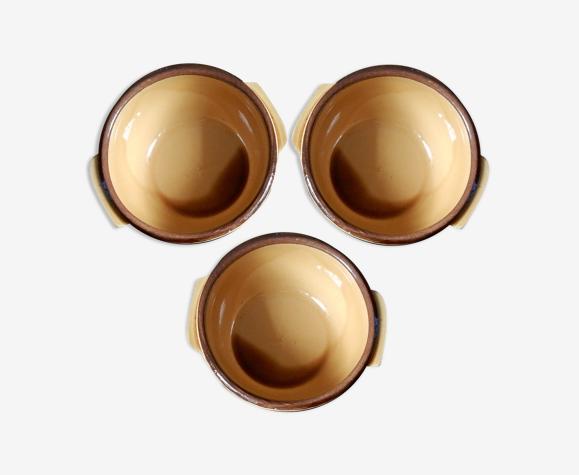Lot de 3 bols à oreilles de couleur ocre