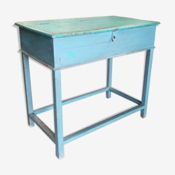 Table bureau bleu pupitre avec rangement bois teck