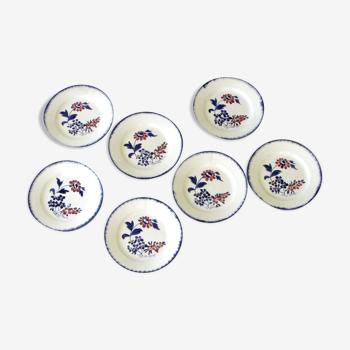 7 assiettes plates anciennes porcelaine de Gien  - Modèle MARIUS