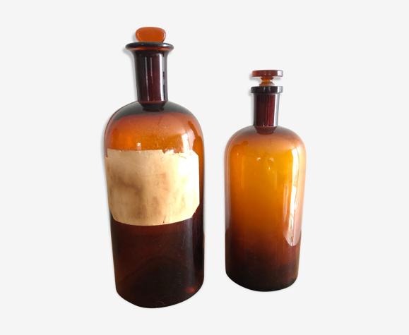 Old brown glass pharmacy bottles