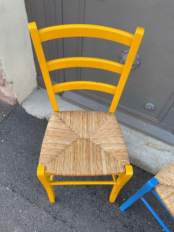Paire de chaises rustique bistrot