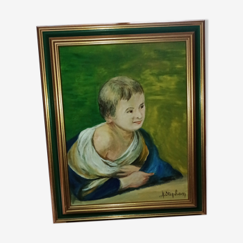 Portrait à l'huile sur toile