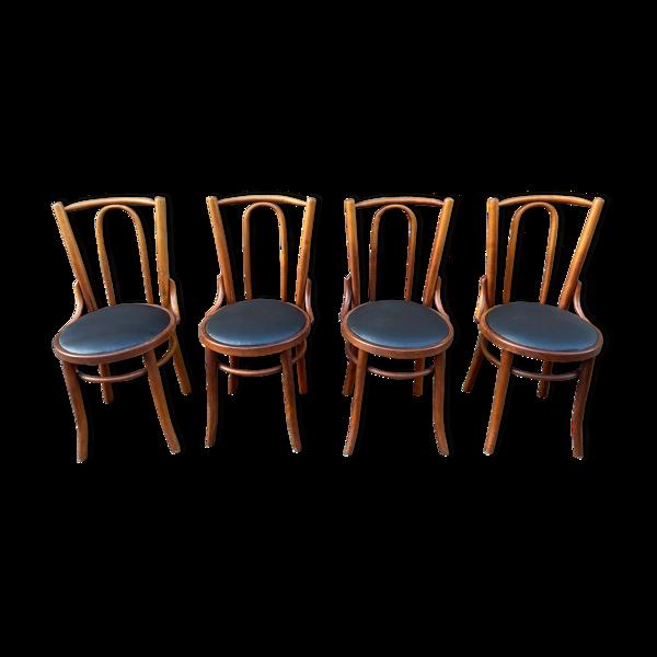 Selency Set de 4 chaises de restaurant bois courbé simili cuir 1960