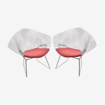 Paire de fauteuils Diamond modèle 421 de Harry Bertoia, fabriqués par Knoll