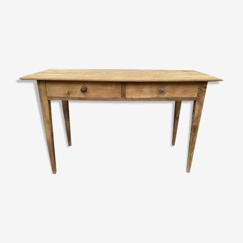 Table en sapin deux tiroirs
