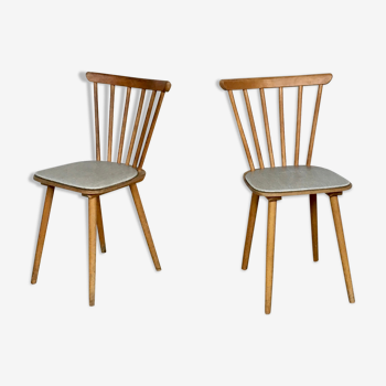 Paire de chaise bistrot skai blanc vintage 1960