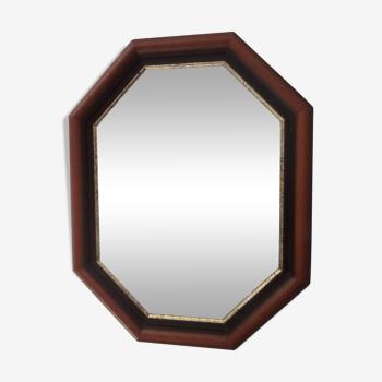 Miroir vintage octogonale biseauté 48x38cm