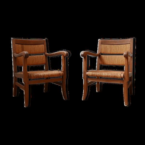 Paire de fauteuils Rush Français du milieu du siècle