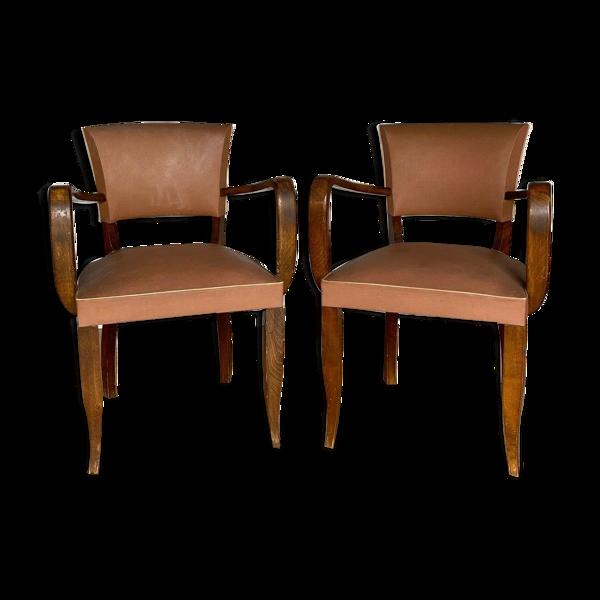 Paire de fauteuils bridge 1940 simili cuir pieds sabres assise marron