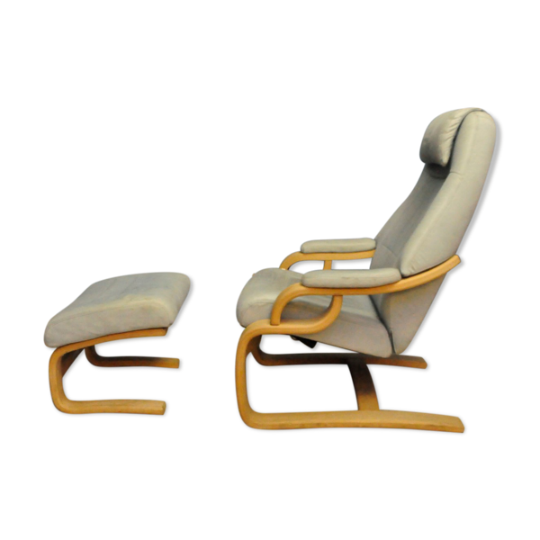 Skippers Mobler Danemark Fauteuil inclinable avec repose-pieds