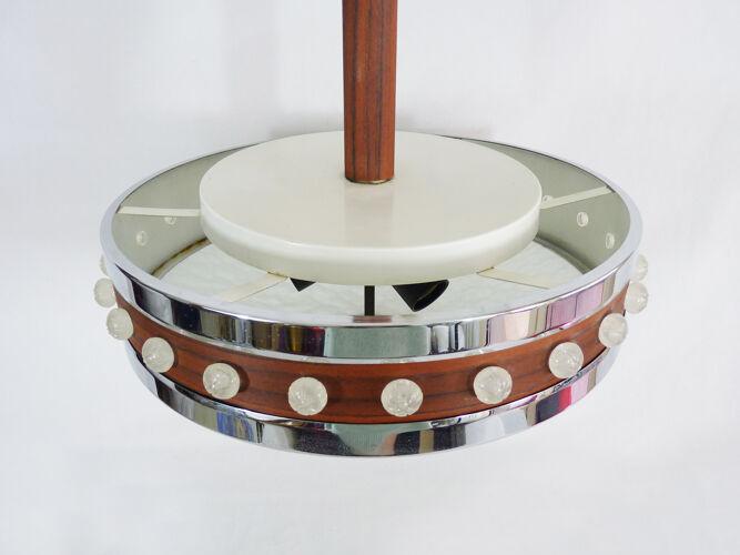 Suspension en métal chromé, bois et vasque en verre à 3 feux 1960