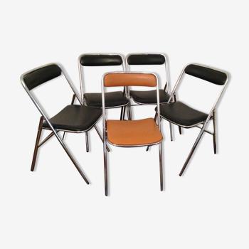Lot de 5 chaises 1970 pliantes Souvignet