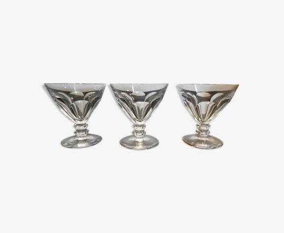 Série de 3 verres - A digestif ou porto - En cristal taillé
