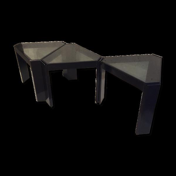 Set de trois tables modulables Cassina 1970
