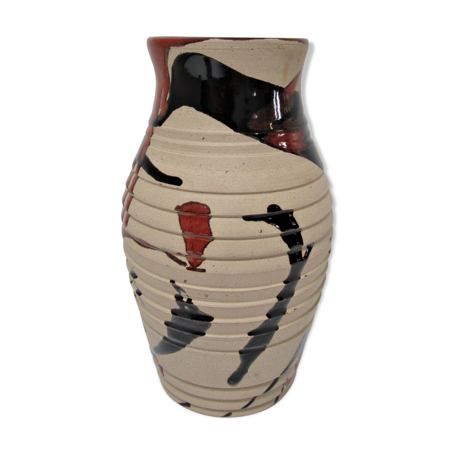 Vase céramique émaillage brun japonisant estampillé cp