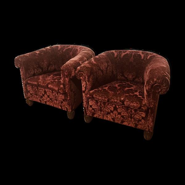 Paire de fauteuils debut XXéme assises restaurées