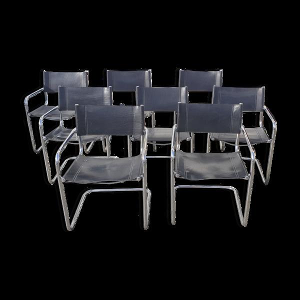 Selency Set de 8 chaises en cuir noir